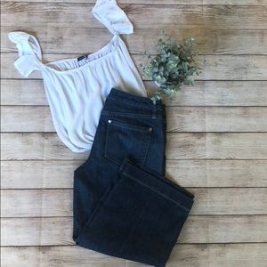 WHBM wide leg cropped jeans